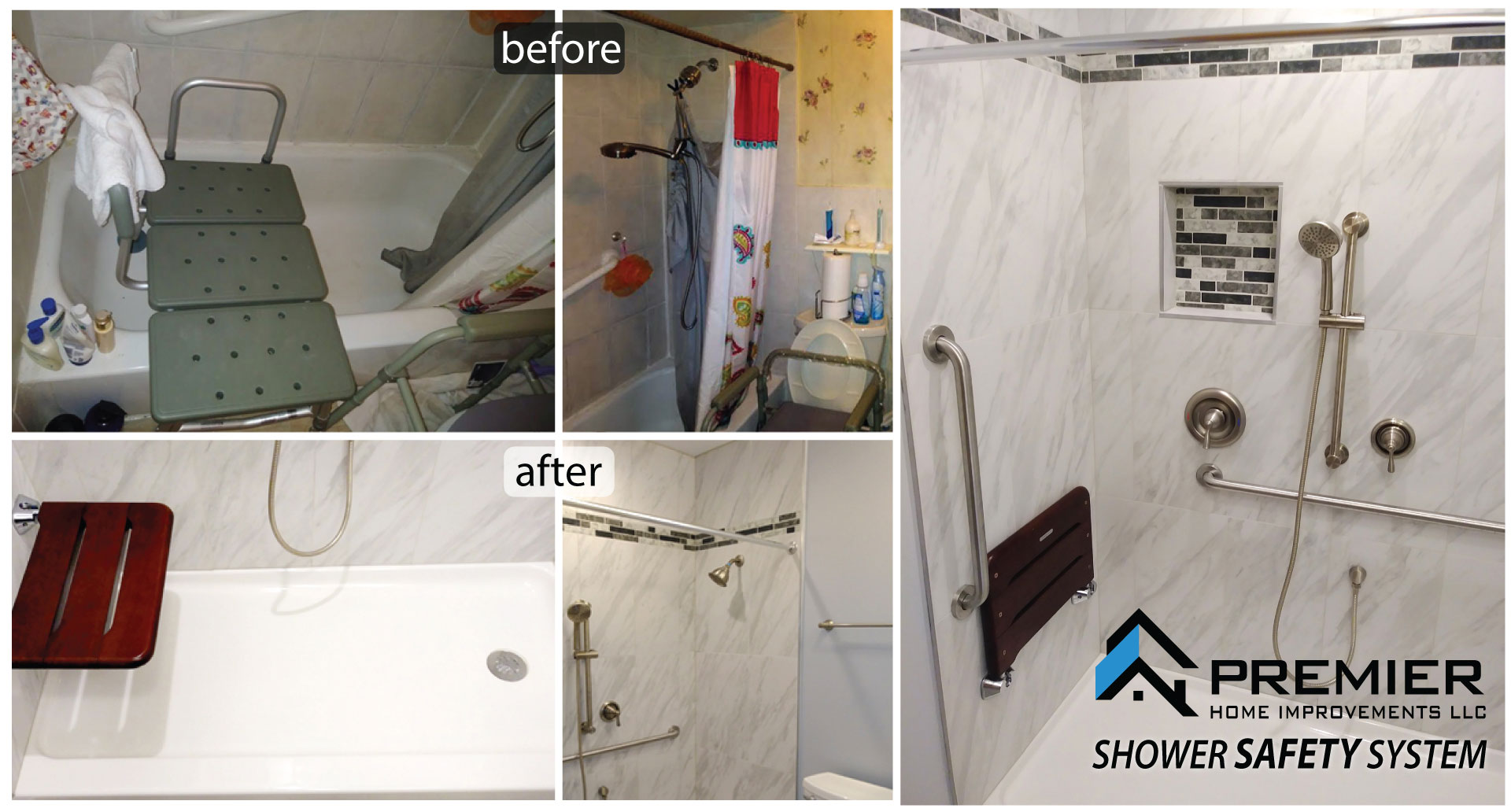 Premier Home  Improvement Improving Premier Shower Safety System Your Home One Project at a Time Premier Shower Safety System Interior & Exterior Services including Handyman Services PremierHomeImprove.com Call us at 312366-0967 Certified Remodeling Company Licensed and Bonded